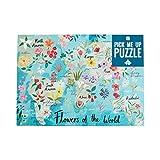 Talking Tables mapas 500 Piezas Flores del Mundo Rompecabezas y póster, Color en casa, cumpleaños, (PUZZ-PMU-Flowers)