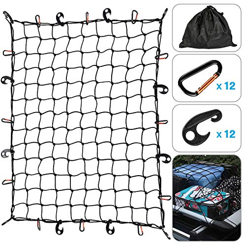 Kohree Roof Rack Cargo Net 3'x4' Super Duty SUV Jeep Bungee Net Stretches to 6'x8' with 12 Tangle-Free D Clip Carabiners for Oversized Rooftop Cargo Rack & Small Trucks