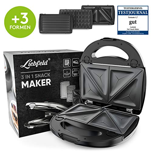 Liebfeld [750W] 3in1 Sandwich Maker (Kontaktgrill, Waffeleisen, Sandwichtoaster) I Sandwichmaker 3 in 1 mit Wechselplatten inkl. Rezeptbuch