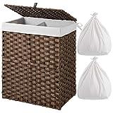 Greenstell Wäschekorb mit Deckel und 2 Wäschesacken, Synthetisches Rattan Wäschesammler geflochten mit Griffen, Wäschesortierer 2 Fächer für Badezimmer und Waschküche (Standardgröße Braun)