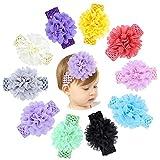 KNMY 10 Stücke Baby haarband, Mädchen Bogen Stirnbänder, Chiffon Blumen Weiche Elastisches...
