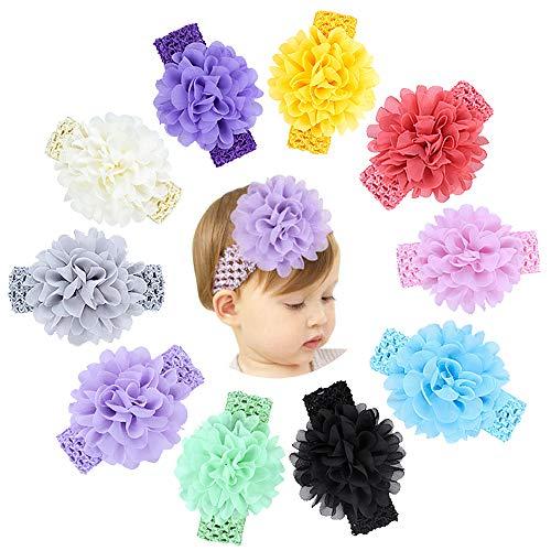 KNMY 10 Stücke Baby haarband, Mädchen Bogen Stirnbänder, Chiffon Blumen Weiche Elastisches Stirnband, Stirnbänder Zubehör für Neugeborene
