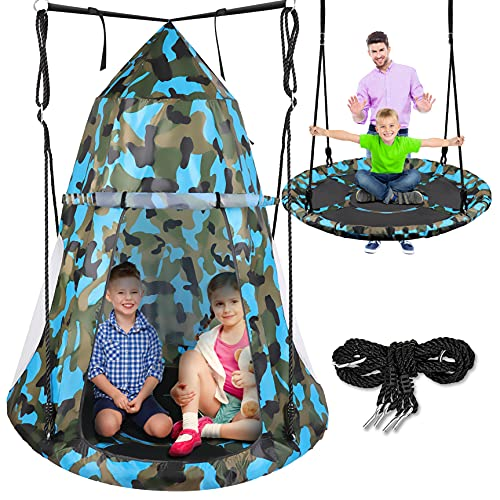 Kids Hanging Tent Saucer Swing - Detachable Tent Cover - Giant Hammock Nest Pod Hanging Round Circular Flying Swing Swing Set - Cushion Padded Metal Frame Outdoor Indoor Swing - Serenelife (Blue Camo)