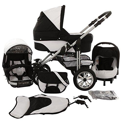 Chilly Kids Matrix Lancer Kinderwagen Komplettset (Autositz, Regenschutz, Moskitonetz, Schwenkräder) 56 Schwarz & Weiß