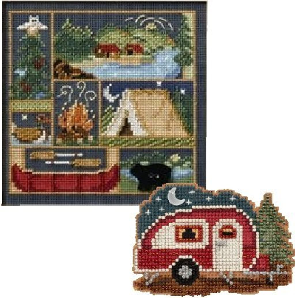 2 Item Camping/Camper Bundle: 1 Buttons and Bead Counted Cross Stitch and 1 Counted Glass Beads Kit