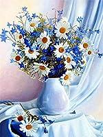 番号キットによるDiy5Dダイヤモンド絵画花瓶の美しいデイジーラウンドフルドリル刺繡クロスステッチアートクラフトキャンバスサプライホームウォールデコレーション40X50CM