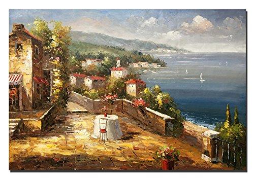 60x90cm - 100% dipinto a mano pittura a olio - pittura a olio mediterranea pittura su tela decorazione della parete per soggiorno (DL1160, 60_x_90_cm)