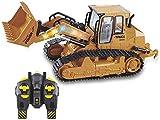 JIAFENG 1,16 RC excavadoras Modelo de Coche volcado niveladora Caterpillar Tractor Efectos de iluminación de música Juguetes para los niños en el Empuje de Tierra,Amarillo