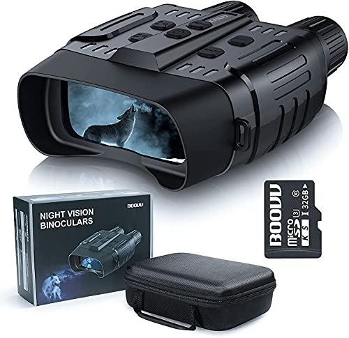 Binocolo Visione Notturna, BOOVV Professionale Visore Notturno Infrarossi con LCD TFT 2,31' di Portatafino a 300m, Binocolo Militare con Registrazione di HD Foto e Video per la Caccia