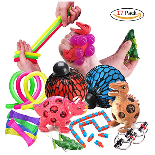 Fidget Toys 17Pcs Sensory Toys Autism Fiddle Toys Includes Squeeze Mesh Balls, Dinosaur Stress Ball, Soybean Squeeze, Flippy Chain, Mesh Elastic Ball, Stretchy String, Snake Cube for Gift Party Favors