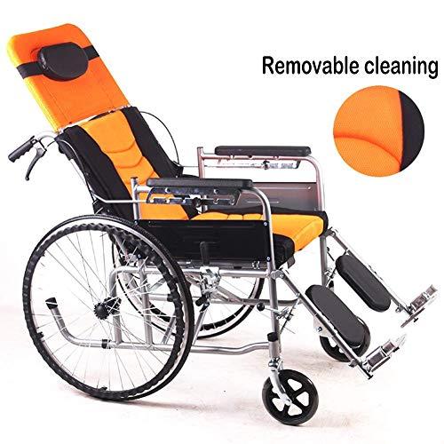 HDGZ Klappbarer Verstellbarer Rollstuhl mit abnehmbaren WC-Armlehnen Nachttische Professionelles mobiles Dusch-WC-Kissen für Erwachsene, Senioren, Reisewagen, schwarz