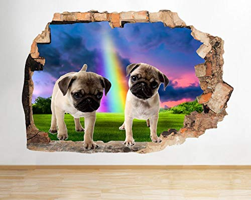 M031 Pug Puppies Rainbow Animal Smashed Wall Decal 3D Art Stickers Vinyl Room Large