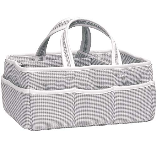 Gray Gingham Seersucker Nursery Diaper Storage Caddy - Portable Organizing Fabric Tote Bag