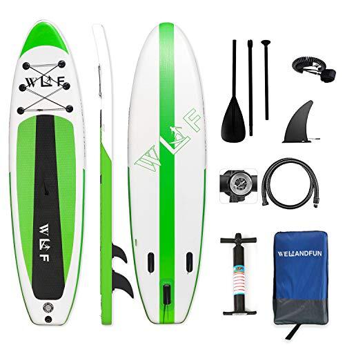 WelandFun Tabla de surf de remo, 150 kg, hinchable, 150 kg, de grosor para todos los niveles de dificultad con remos y accesorios completos.