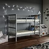 Vida Designs Milan Bunk Bed With Ladder, Kids Twin Sleeper, Solid Pine Wood Frame, Children's, Single 3 Foot, Grey