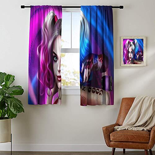 Cortina opaca aislante térmico The Joker Harley Quinn Cortinas para sala de estar, sensación natural, 42 x 54, lavable a máquina