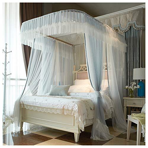 LKH Red De Cama con Dosel para Niñas, Malla Densa De Panal, 3 Aberturas con Mosquitera con Cremallera De Doble Cara para Cubrir Camas - Gris Azul(Size:for 1.8m/6 Feet Bed,Color:A)