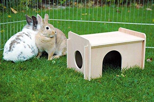 dobar 80605 Großes Kaninchengehege aus 6 Elementen, mit Nylon Netz und Holzhaus, XXL Freilauf für Hasen, Freilaufgehege XL, 165 x 145 x 60 cm, Silber - 10