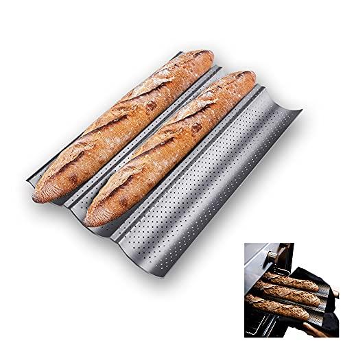 Maotrade Molde Baguette 38 x 24.5 cm Bandeja Baguette Molde de Pan Francés Plata Aplicar para Reposteria Panaderia Hornos Hornear