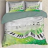SEMZUXCVO Quilt Cover Large 3 Piece Bedding Set Music Music Piano Keys Curvy Fingerboard Summertime Entertainment Flourish with Four Corner Straps Lime Green Black White (Full)