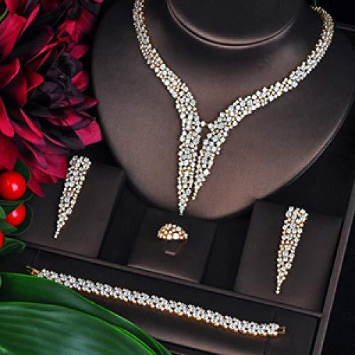 Jskdzfy Conjuntos De Joyas para Mujeres Accesorios De Boda Nupciales 4 PCS Collar Anillo Pulsera Pendiente Conjunto Color Resistible (Color : Gold-Color, Size : Resizable)