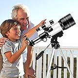 KKTECT Telescopio portátil para niños y Principiantes Telescopio astronómico de 70 mm Aumento de 150X Soporte de conexión de teléfono móvil con película Bard, Filtro Lunar