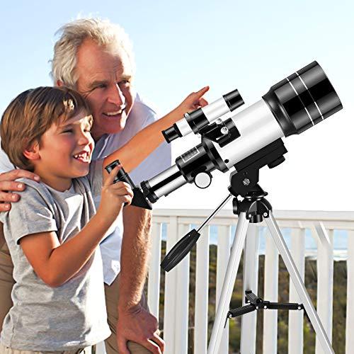 KKTECT Protable teleskop mit Rucksack 70 mm astronomisches Teleskop für Kinder und Anfänger zur Beobachtung im Freien 150-fache Vergrößerung Unterstützung der Mobiltelefonverbindung