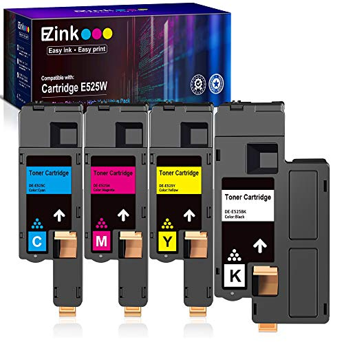 E-Z Ink (TM) Compatible Toner Cartridge Replacement for Dell E525W E525 525w to use with E525w Wireless Color Printer for 593-BBJX 593-BBJU 593-BBJV 593-BBJW (Black Cyan Magenta Yellow, 4 Pack)