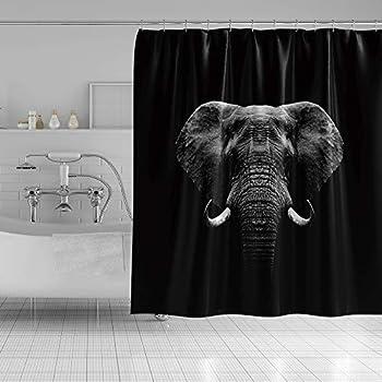 Qinunipoto 60x72inch Customizable Wildlife Shower Curtain Animal Pattern Elephant Head Photo Black Background for Master Guest Dorm Bathroom Spa Modern Home Bathroom Decor Bathtub Polyester Hooks