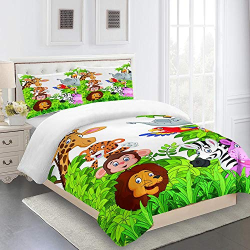 RYQRP King Size Duvet Cover Set Cartoon Animals Lion Elephant Quilt Cover Bedding Set with Hidden Zipper Microfiber, Bedding Quilt Cover 230x220cm with 2 Pillowcases for Kids Teens Adults