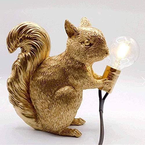 Lámpara de ardilla de resina Cama animal creativa Faro Mini Lámpara LED luminosa decorativa-Lámpara de oro retro