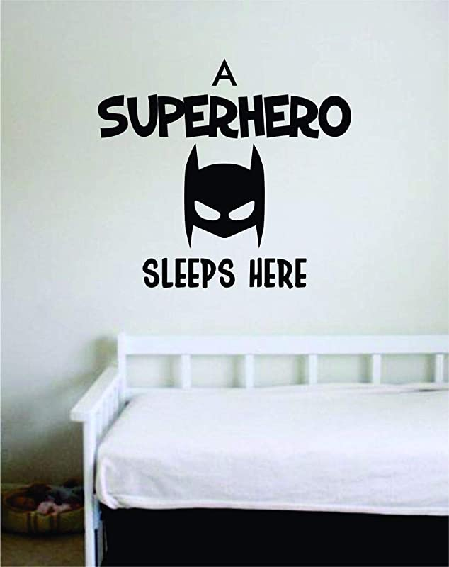 A Super Hero Sleeps Here Batman Wall Vinyl Sticker For Nursery Bedroom Or Playroom