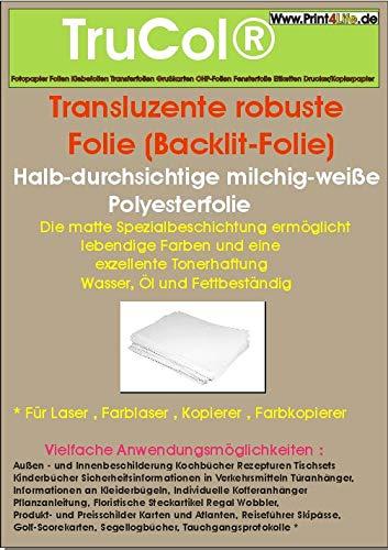 15x SRA3 Backlit reißfeste Transluzente robuste Folie 195µm - Wasser, Öl und Fettbeständig - Matte Spezialbeschichtung – geeignet für Außen und Innenbeschilderung + Aushänge