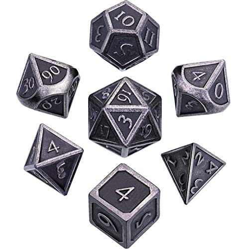 Hestya 7 Pieces Metal Dices Set with Storage Bag And Enamel for Dungeons And Dragons (Nuovo Nichel d'Argento)