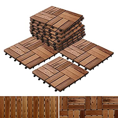 Patio Pavers | Composite Decking Flooring and Deck Tiles | Acacia Wood | Suitable for Indoor and Outdoor Applications | Check Pattern | 12x12 inches - Pack of 11 Tiles