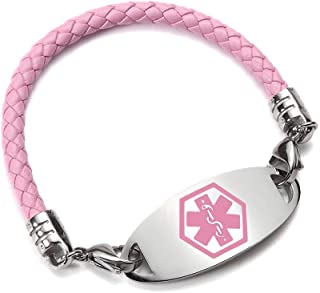 Medical Alert ID Bracelet - Interchangeable Pink Bolo Cord and Stainless Steel Tag Free Engraving for Women 7inch