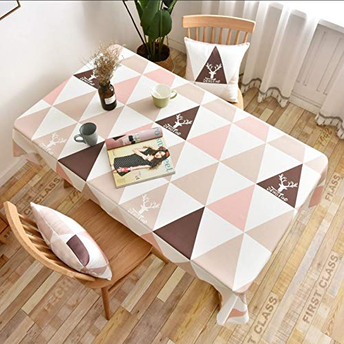 WSJIABIN Home Decor Tablecloth Nordic Coffee Table Cloth Rectangular Christmas Elk Waterproof and Oilproof Pink Geometric Triangle Table Cloth Cover Towel Tablecloth