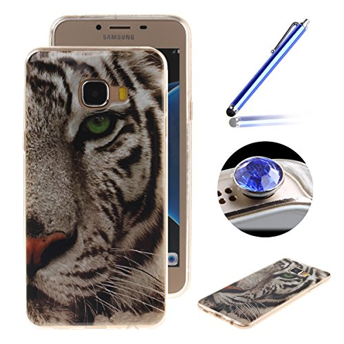 Etsue Case Pour Samsung Galaxy C5,Ultra-minces TPU Silicone Coque Pattern étui Pour Samsung Galaxy C5, Rim jante est Transparent Housse Mode Motif Cover pour Samsung Galaxy C5 + 1 x Bleu stylet + 1 x Bling poussière plug (couleurs aléatoires)-Tigre
