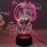 Lámpara de ilusión de luz nocturna 3D Anime My Hero Academia Shoto Todoroki Luz de noche LED para habitación de niños Boku Hero Academia Juguetes Regalos Muñecas - Con controladorCon