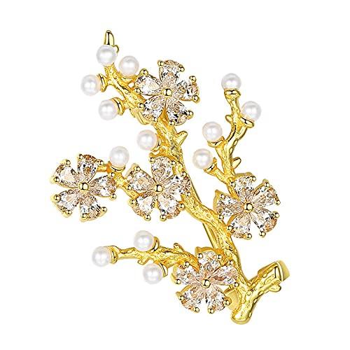 Broches Para Mujer 925 Sterling Silver 3A Zircon Pearl Tree Gold Broche Para Damas Boda Compromiso Participación Charm Joyería-Oro