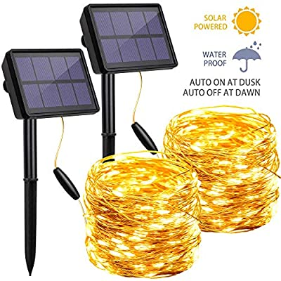 Solar String Lights Outdoor Waterproof, 72FT 200 LED Solar Powered Fairy Lights, Decoration Copper Wire Lights with 8 Modes for Patio Yard Trees Christmas Wedding Party Decor (Warm White)