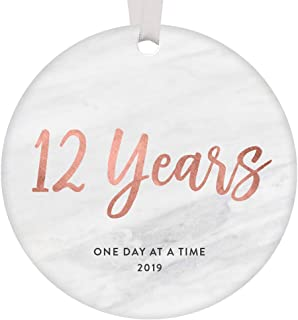 12 Years Clean & Sober Ornament Christmas 2019 One Day At A Time Woman Celebrating 12th Anniversary Recovery Gifts Holiday Sobriety Keepsake Modern Rose Gold Marble 3