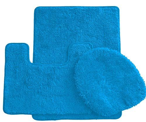 Ben & Jonah Simple Elegance by Ben&Jonah (18' x 30'), 1 Contour Mat 1 Toilet Seat Cover (APX 18' x 18') -Turquoise 3 Piece Bath Rug Set