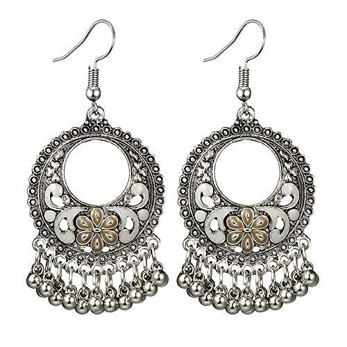 Lazzgirl Frauen Vintage geschnitzte Tropfen Öl Blumen hohlen runden Glocken Quaste Ohrringe(B,One size)