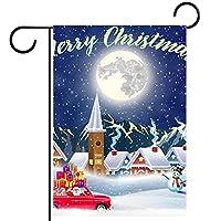 ウェルカムガーデンフラッグ(28x40inch)両面垂直ヤード屋外装飾,クリスマスサンタクロースが車を運転する