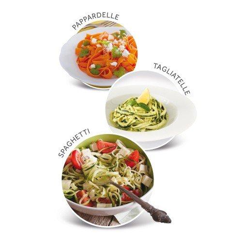 Imetec SP 100 Spiralizer eléctrico, corte de verduras en espiral, accesorios para 3 formas Spaghetti, Tagliatelle, Pappardelle, acero inoxidable, sin BPA 500 ml, sistema de seguridad