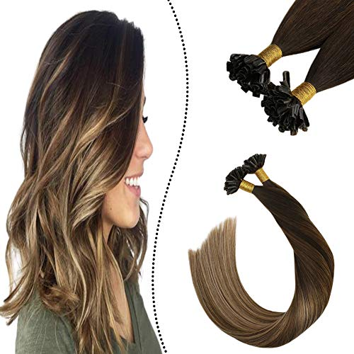 Ugeat 20 Pouces Balayage Extension Adhesive Cheveux Humains Pose a Chaud 1G 50S Individuel U Tips Brun Fonce a Brun Moyen et Brun Dore Clair #2/6/12