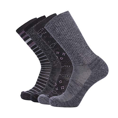 EnerWear 4P 86% Merino Wool Women's Outdoor Hiking Trail Crew Socks (US Shoe Size 4-10, Dark Grey/Grey Stripe/Multi)