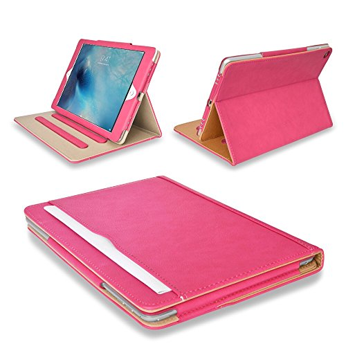 MOFRED Pink & Tan Apple iPad Executive Leather Case for Apple iPad Pro 12.9' (For 2015 & 2017 Versions)- Voted by'The Daily Telegraph' as #1 iPad Case! (iPad Models A1670, A1671, A1584, A1652)