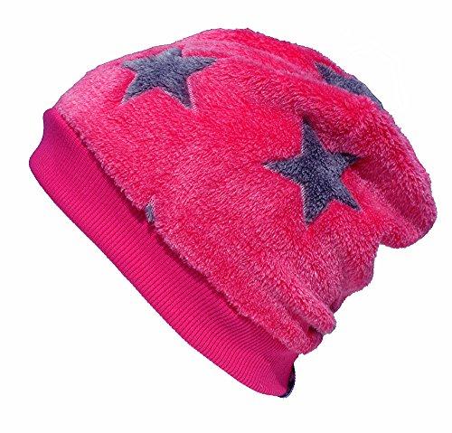 Wollhuhn Warme Beanie-Mütze in pink mit grauen Sternen, Wellnessfleece, 54983907, Größe: L: KU ab 54 (darüber/Erwachsene)